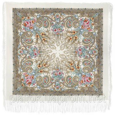 Март 904-1, павлопосадский платок шерстяной (двуниточная шерсть) с шелковой бахромой