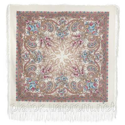 Март 904-2, павлопосадский платок шерстяной (двуниточная шерсть) с шелковой бахромой