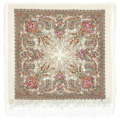 Март 904-3, павлопосадский платок шерстяной (двуниточная шерсть) с шелковой бахромой