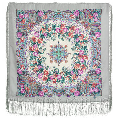 Русский перепляс 1684-1, павлопосадский платок шерстяной  с шелковой бахромой