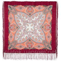 Сувенир 1659-5, павлопосадский платок шерстяной  с шелковой бахромой