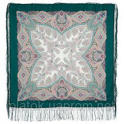 Сувенир 1659-9, павлопосадский платок шерстяной  с шелковой бахромой