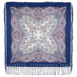 Сувенир 1659-14, павлопосадский платок шерстяной  с шелковой бахромой