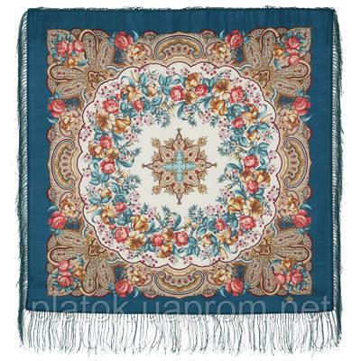 Русский перепляс 1684-11, павлопосадский платок шерстяной  с шелковой бахромой