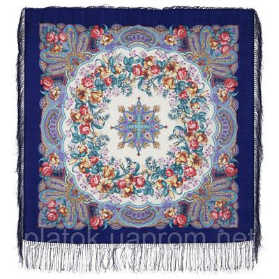 Русский перепляс 1684-13, павлопосадский платок шерстяной  с шелковой бахромой