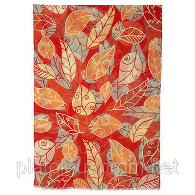 Осенний сон 10107-5, павлопосадский шарф-палантин шерстяной (разреженная шерсть) с осыпкой