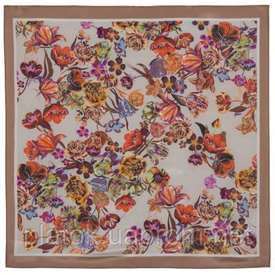 Летний вечер 10058-16, павлопосадский платок (крепдешин) шелковый с подрубкой