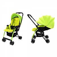 Детская Прогулочная коляска CARRELLO Cosmo LIGHT GREEN - перекидная ручка, корзина,чехол на ножки