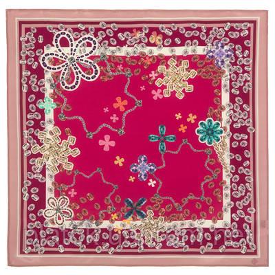 Стразы 10059-6, павлопосадский шейный платок (крепдешин) шелковый с подрубкой