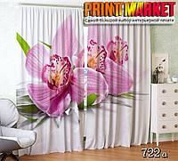 Фотошторы орхидея на белой ткани