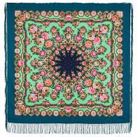 Южное солнце 1652-12, павлопосадский платок шерстяной (двуниточная шерсть) с шелковой бахромой
