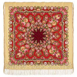 Южное солнце 1652-3, павлопосадский платок шерстяной (двуниточная шерсть) с шелковой бахромой
