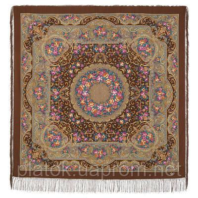 Осенний романс 1677-16, павлопосадский платок шерстяной (двуниточная шерсть) с шелковой бахромой