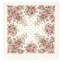 Утренний сад 363-2, павлопосадский платок шерстяной (двуниточная шерсть) с шелковой вязаной бахромой