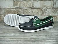 Мокасины топсайдеры Sebago Docksides кожаные black/green