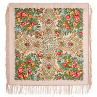 Нежные чувства 1687-2, павлопосадский платок шерстяной с шерстяной бахромой