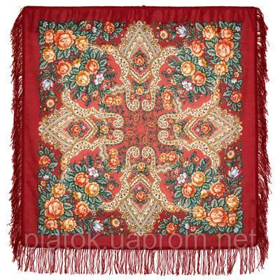Нежные чувства 1687-6, павлопосадский платок шерстяной с шерстяной бахромой