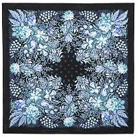После дождя 704-18, павлопосадский платок (крепдешин) шелковый с подрубкой