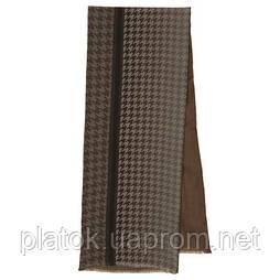 Кашне мужское 10173-16, павлопосадский шарф (кашне) шерсть -шелк (атлас) двусторонний мужской с осыпкой