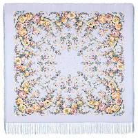 Праздник души 1681-1, павлопосадский платок (шаль, крепдешин) шелковый с шелковой бахромой