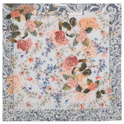Платок шелковый (крепдешин) 10124-13, павлопосадский платок (крепдешин) шелковый с подрубкой