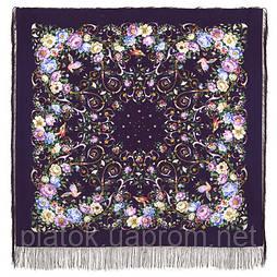 Праздник души 1681-15, павлопосадский платок (шаль, крепдешин) шелковый с шелковой бахромой