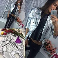 Кожаная стильная женская куртка косуха