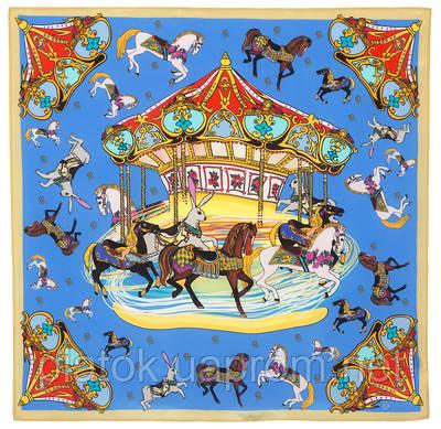 Платок шейный шелковый (крепдешин)  10119-13, павлопосадский шейный платок (крепдешин) шелковый с подрубкой