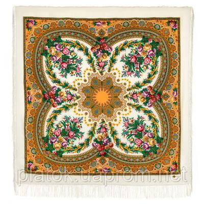 Слова любви 1688-1, павлопосадский платок шерстяной  с шелковой бахромой