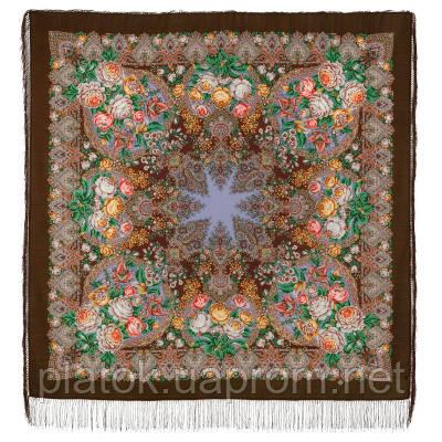 Медовый полдень 1724-17, павлопосадский платок шерстяной  с шелковой бахромой