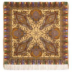 Мечта хрустальная 1683-52, павлопосадский платок шерстяной с шелковой бахромой
