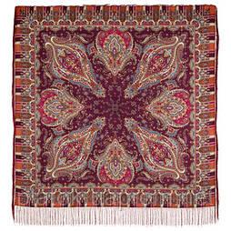 Мечта хрустальная 1683-57, павлопосадский платок шерстяной с шелковой бахромой