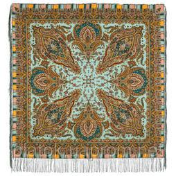 Мечта хрустальная 1683-62, павлопосадский платок шерстяной с шелковой бахромой