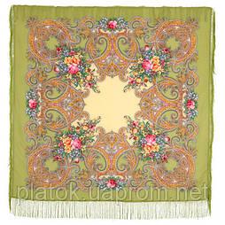 Луч солнца золотого 1685-10, павлопосадский платок шерстяной с шелковой бахромой