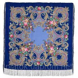 Луч солнца золотого 1685-14, павлопосадский платок шерстяной с шелковой бахромой