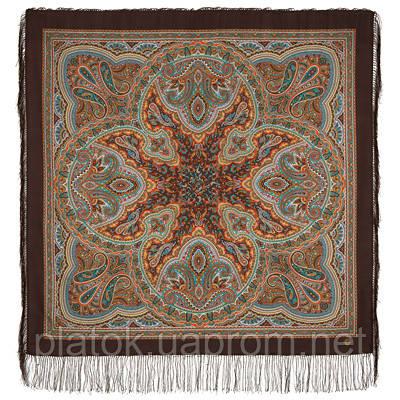 Узор дождя 1695-17, павлопосадский платок шерстяной (двуниточная шерсть) с шелковой бахромой