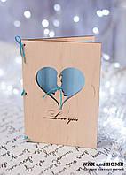 Открытка из дерева А7 с вырезанным сердцем
