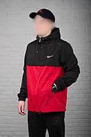 Мужской Анорак Nike  на весну,черно-красный.