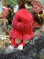 Кролик-брелок из меха Коралловый в стиле Рекс Фенди Большой , фото 1