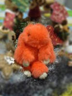 Брелок Кролик из натурального меха Оранжевый в стиле Рекс Фенди Большой, фото 1