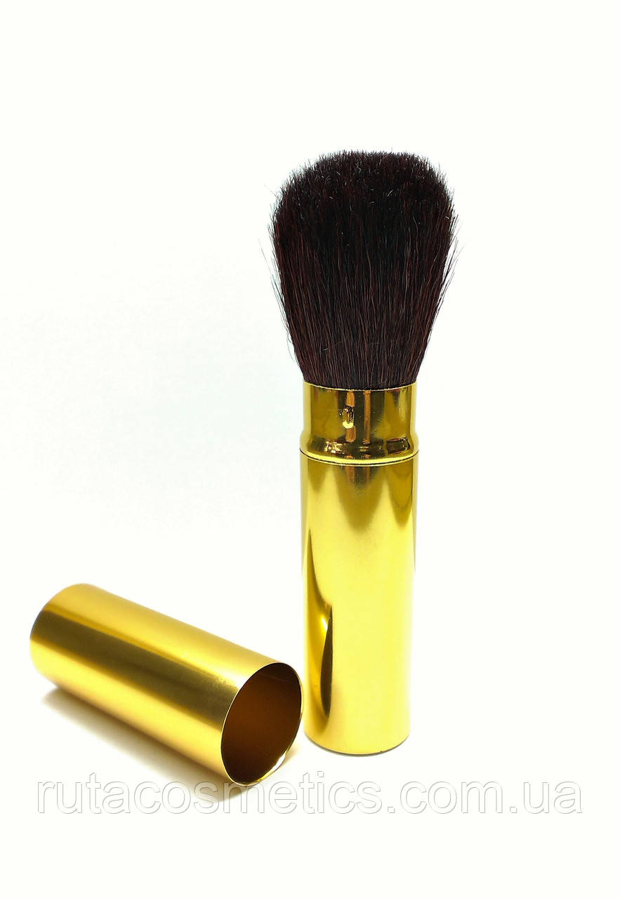 Складна кисть для макіяжу QPI (метал, золотиста)