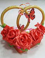 """Кольца на свадебную машину """"Розы+бабочки"""" (красные)"""