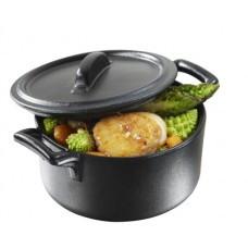 Кастрюля с крышкой, порционная Revol овальная, серия Belle cuisine, цвет черный (7,5х7х4,2 см, 80 мл)