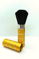 Складная кисть для макияжа QPI (металл, золотистая, полоска), фото 1