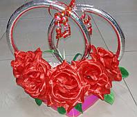 """Кольца на свадебную машину """"Розы"""" (красные) под серебро"""