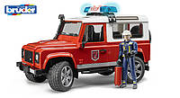 Игрушка Bruder джип Пожарный Land Rover Defender, свет и звук,  + фигурка пожарника 1:16 (02596)