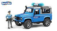 Игрушка Bruder джип Полиция Land Rover Defender синий, свет и звук, + фигурка полицейского 1:16 (02597)