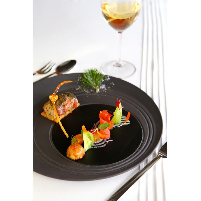 Блюдо круглое Revol, черное серия Bistro&Co (28 см)