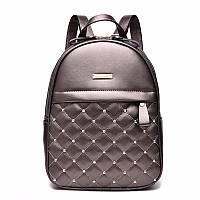 Рюкзак кожаный стеганый  с заклепками (бронзовый)
