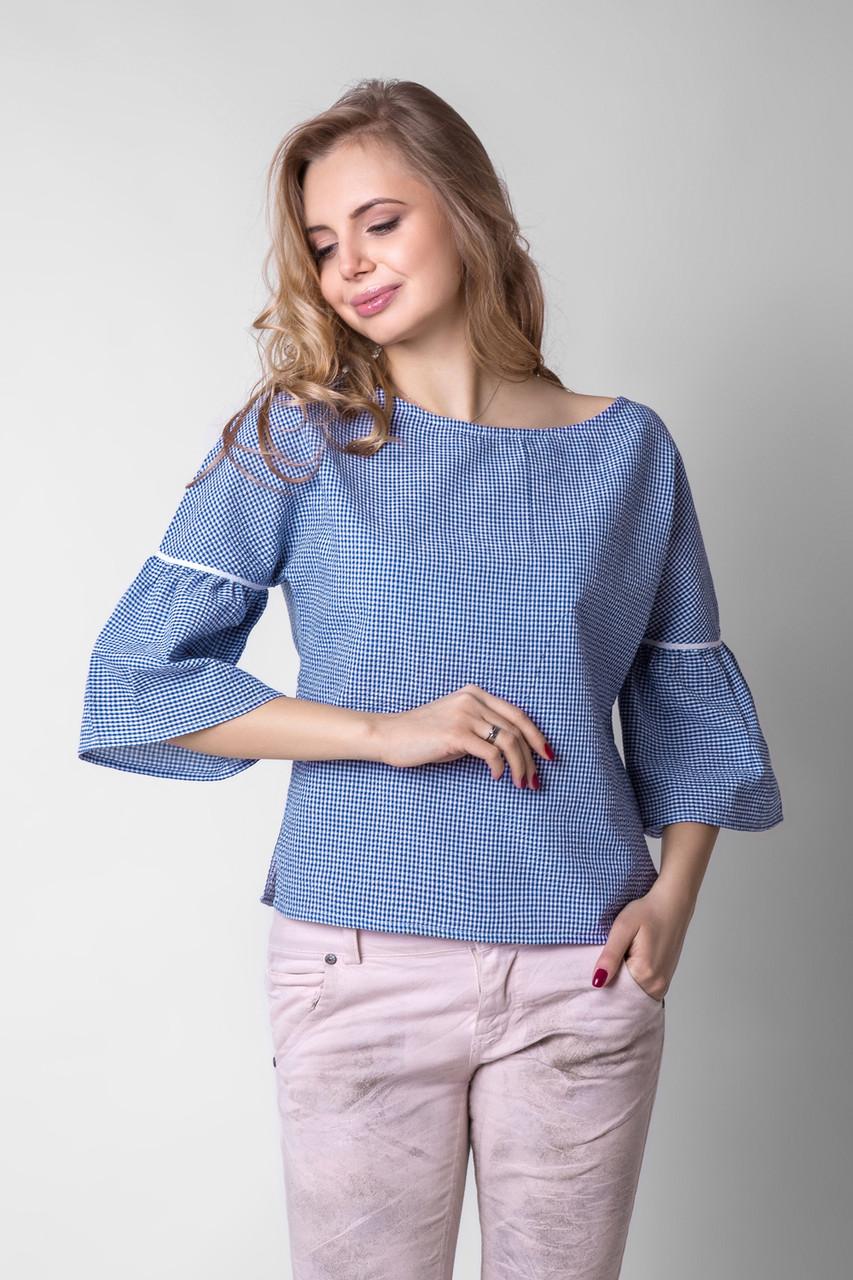"""Женская блуза цвета электрик с расклешенными рукавами и вырезом """"лодочка"""", Размеры 42 44"""